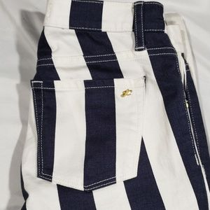 Juicy Couture Navy and White Striped Skinny Jeans